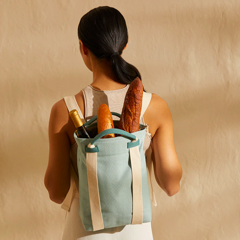 A person wearing the cooler backpack