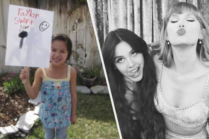 Olivia Rodrigo holding a Taylor Swift sign when she was younger and a picture of her and Taylor finally meeting in person