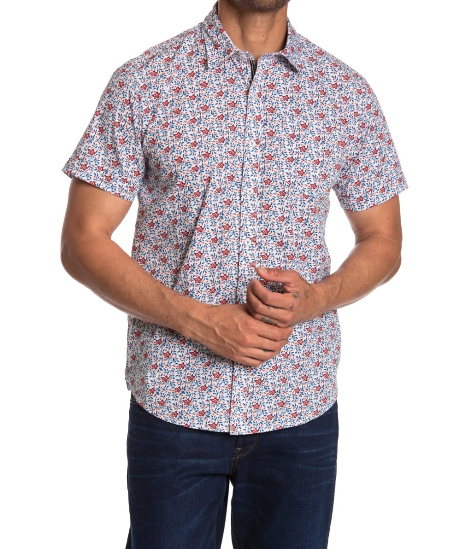 The floral waterproof button-up with short sleeves