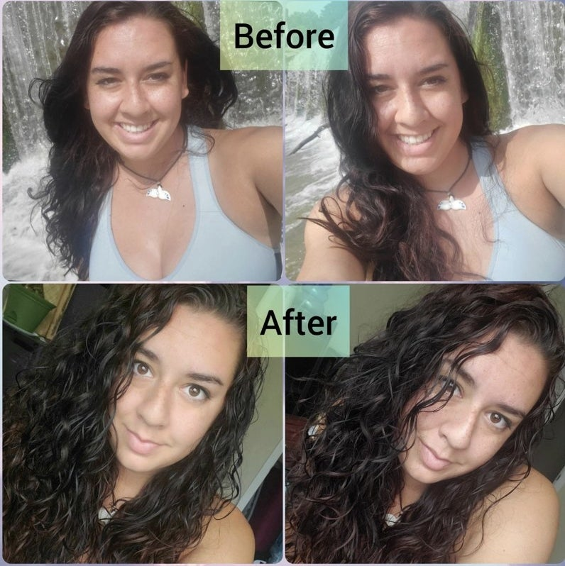A woman showing before and after shots of her hair