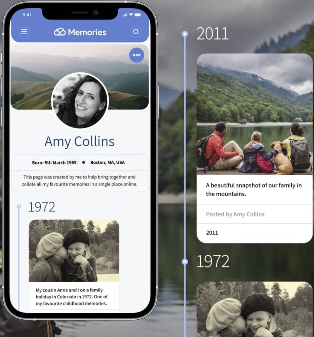 A smartphone showing a Memories app timeline of Amy Collins, and a memory from 1972.