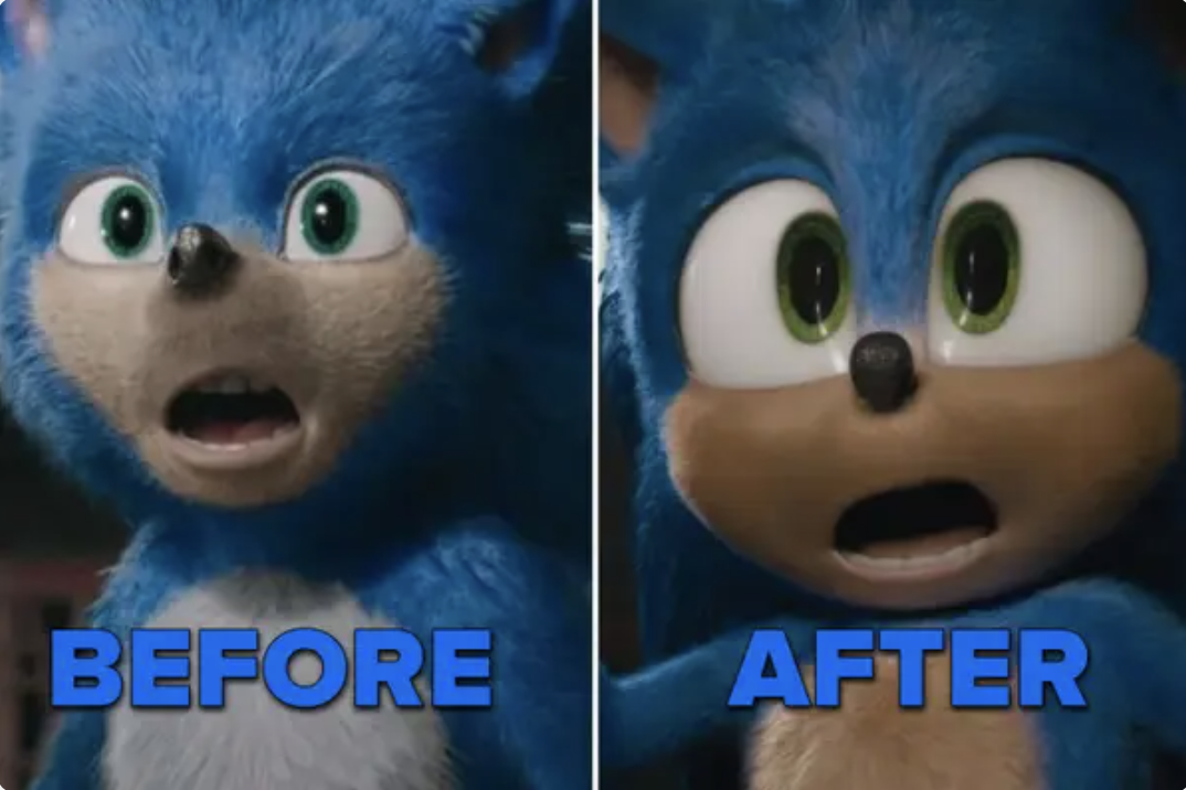 Side-by-side photos of Sonic before and after revisions