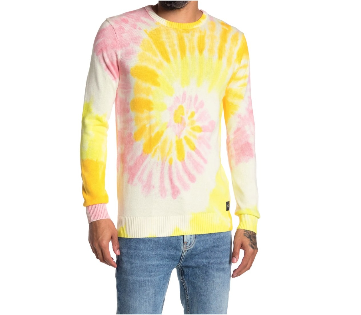 The tie dye print long sleeve shirt in yellow and pink