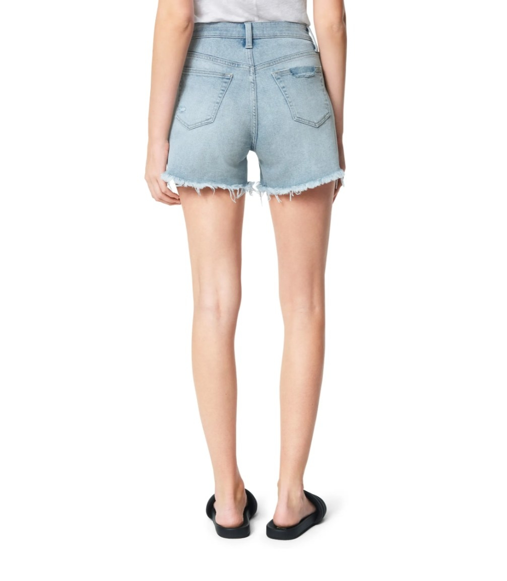 The pair of high waisted denim shorts in light blue