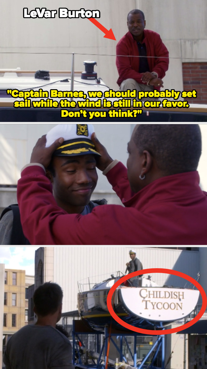 """LeVar Burton saying, """"Captain Barnes, we should probably set sail while the wind is still in our favor; don't you think?"""""""