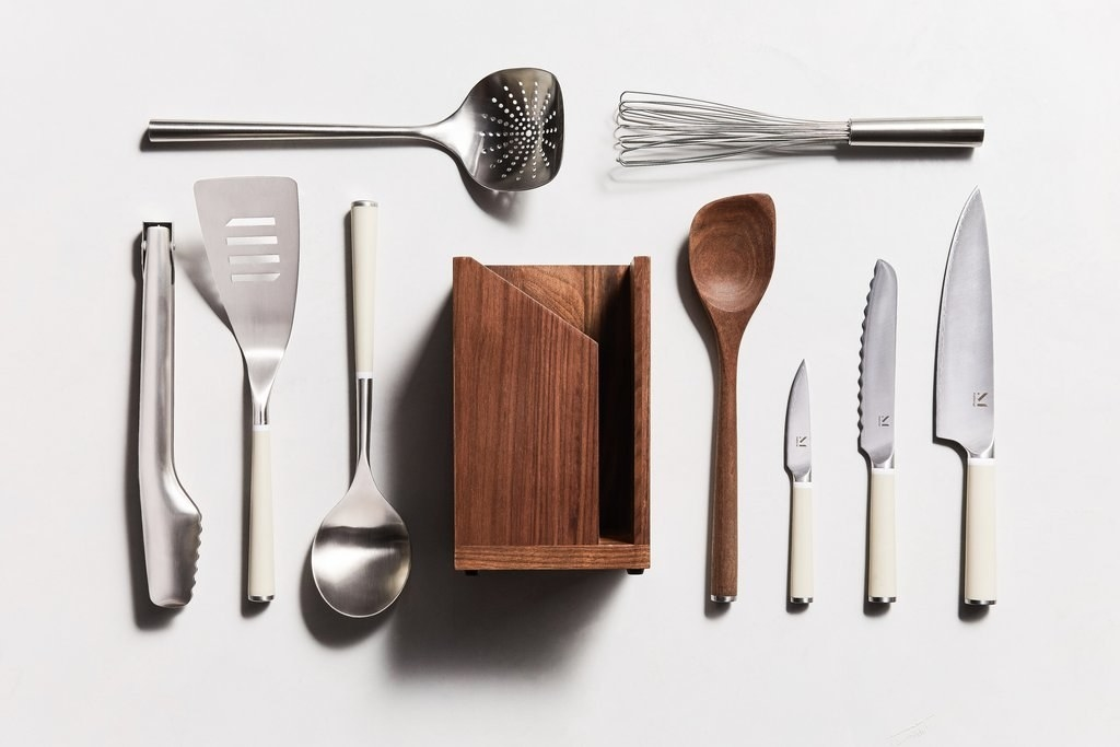 a 10-piece stainless steel and wood utensil set