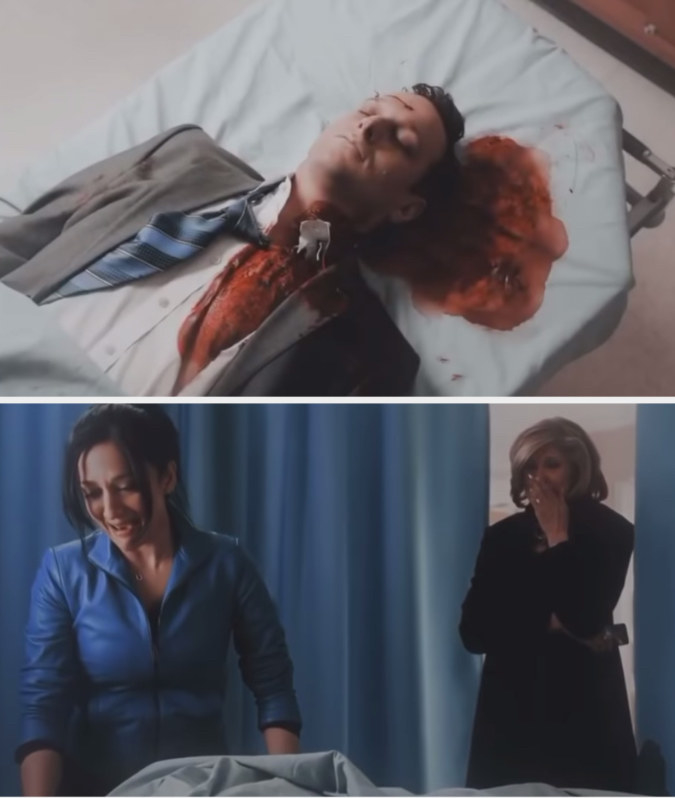 Will lying with a pool of blood behind his head as Kalinda and Diane look on, weeping