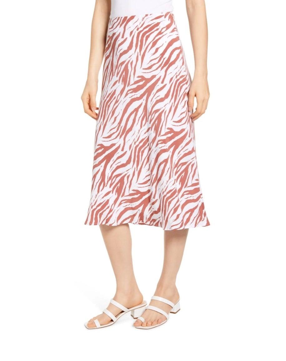 The Zebra print midi skirt in rust