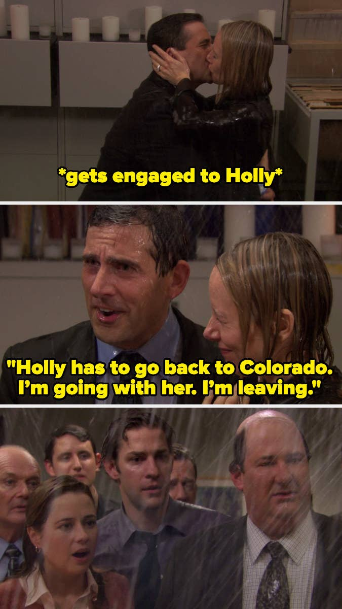 """Michael Scott telling the office that """"Holly has to go back to Colorado. I'm going with her; I'm leaving"""""""
