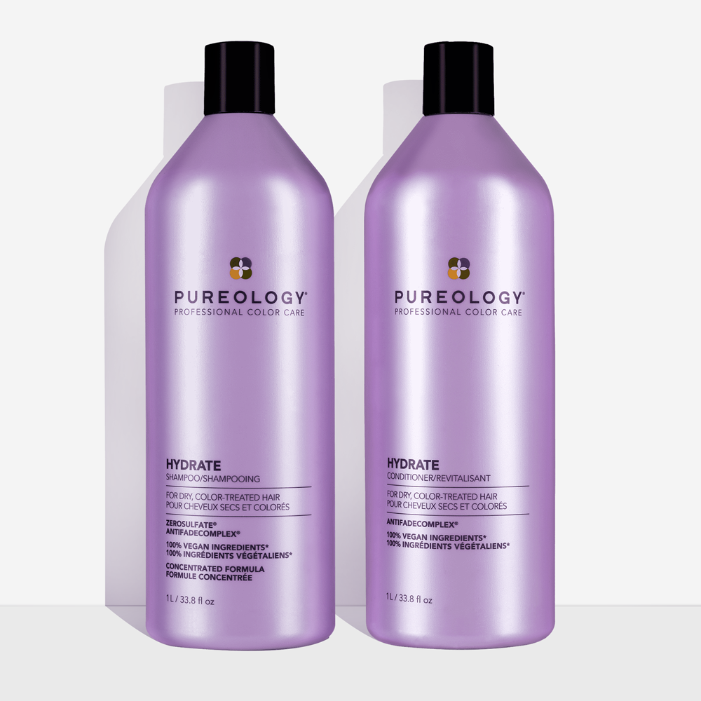 the hydrating shampoo and conditioner duo in purple bottles