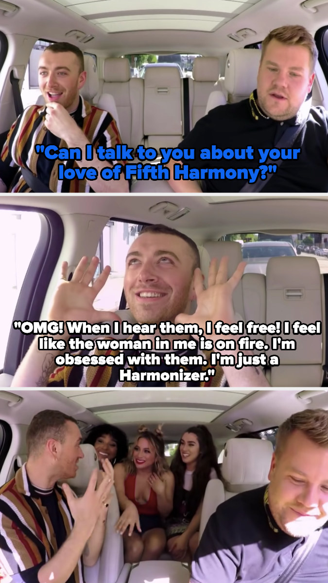 James Corden and Sam Smith talking about how much they love Fifth Harmony and then Fifth Harmony getting in the car with them