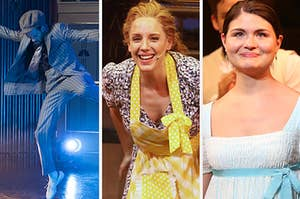 Three Broadway members are on stage performing in their costumes
