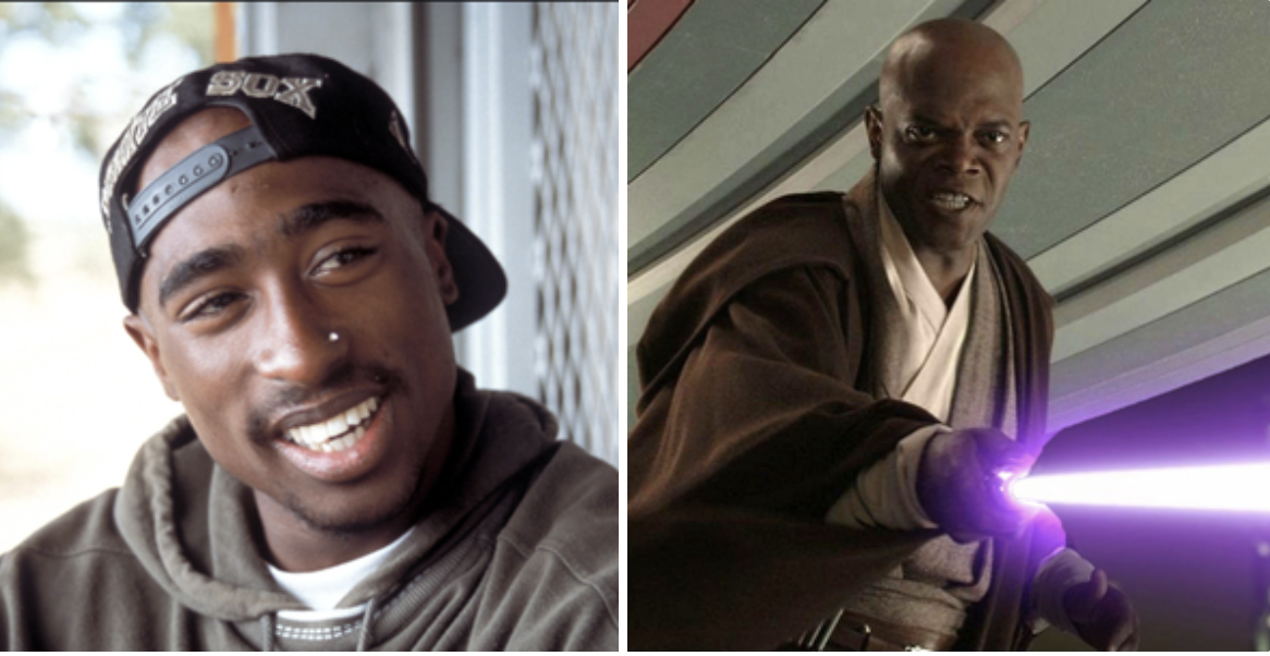 Tupac side by side with Sam Jackson in Star Wars