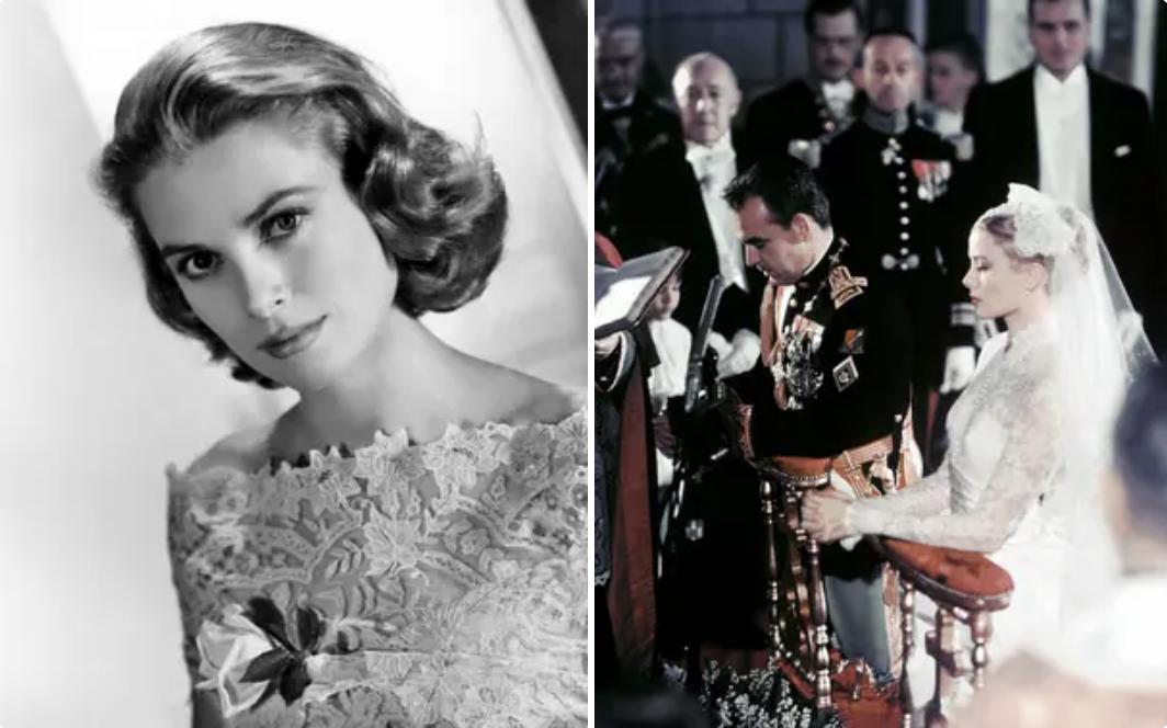 Grace Kelly at her wedding to Prince Rainer