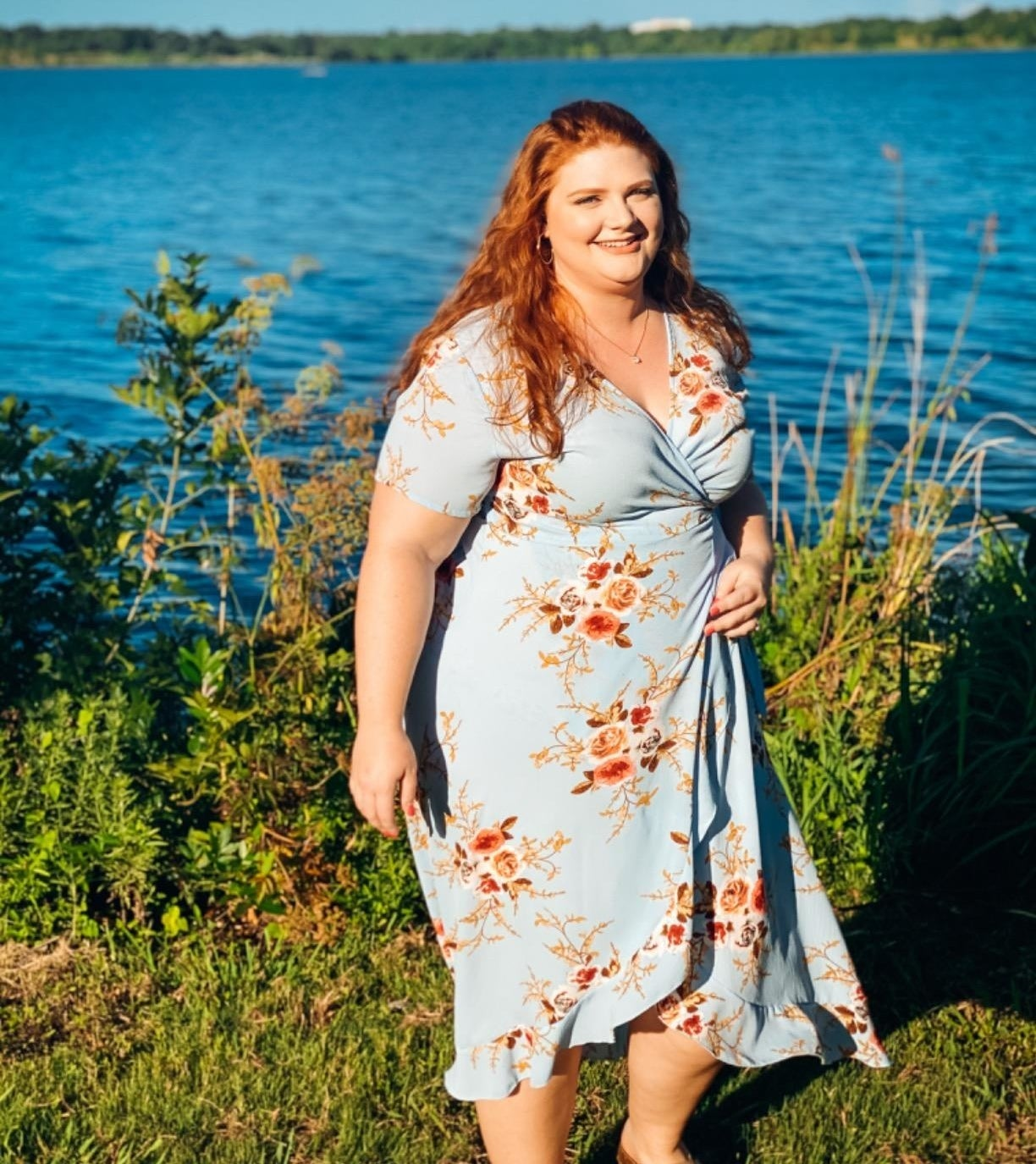 Reviewer photo of the dress in blue