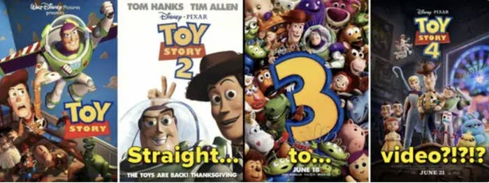 The posters of all four toy story movies