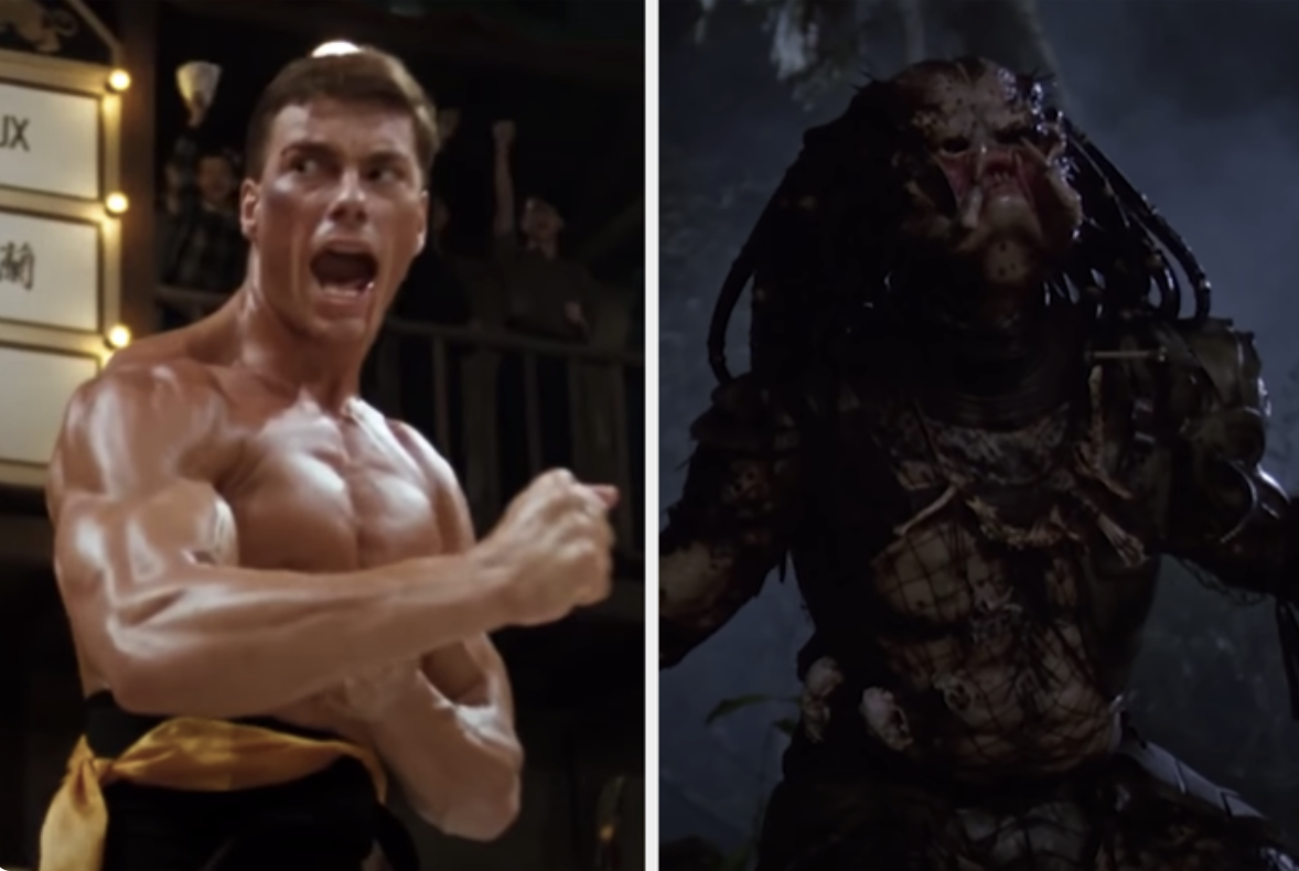 Jean Claude Van Damme in Bloodsport next to a photo of The Predator