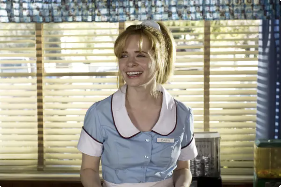 Shelly playing a Waitress in her film Waitress