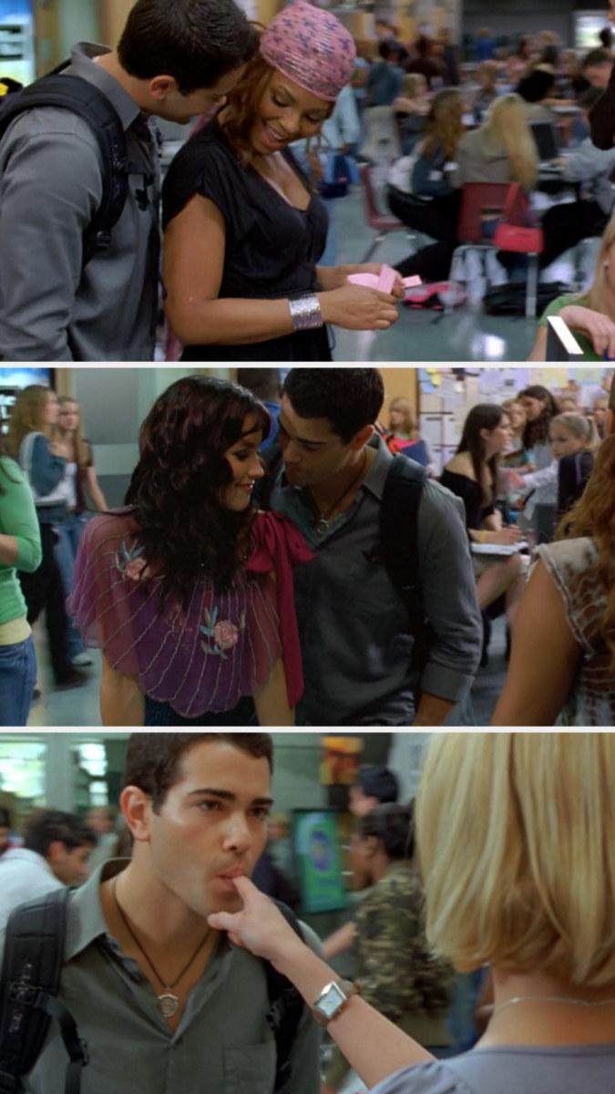 John greeting Carrie, Heather, and Beth separately at school