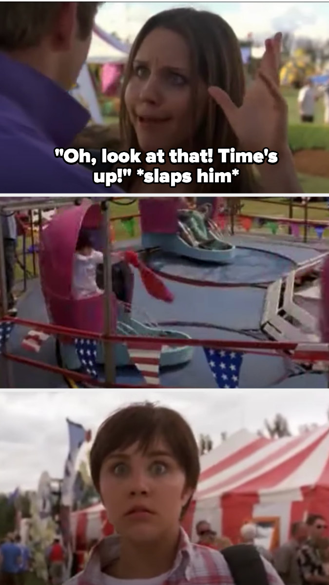 Viola slaps Justin, then changes into her Sebastian outfit/hair on a carnival ride