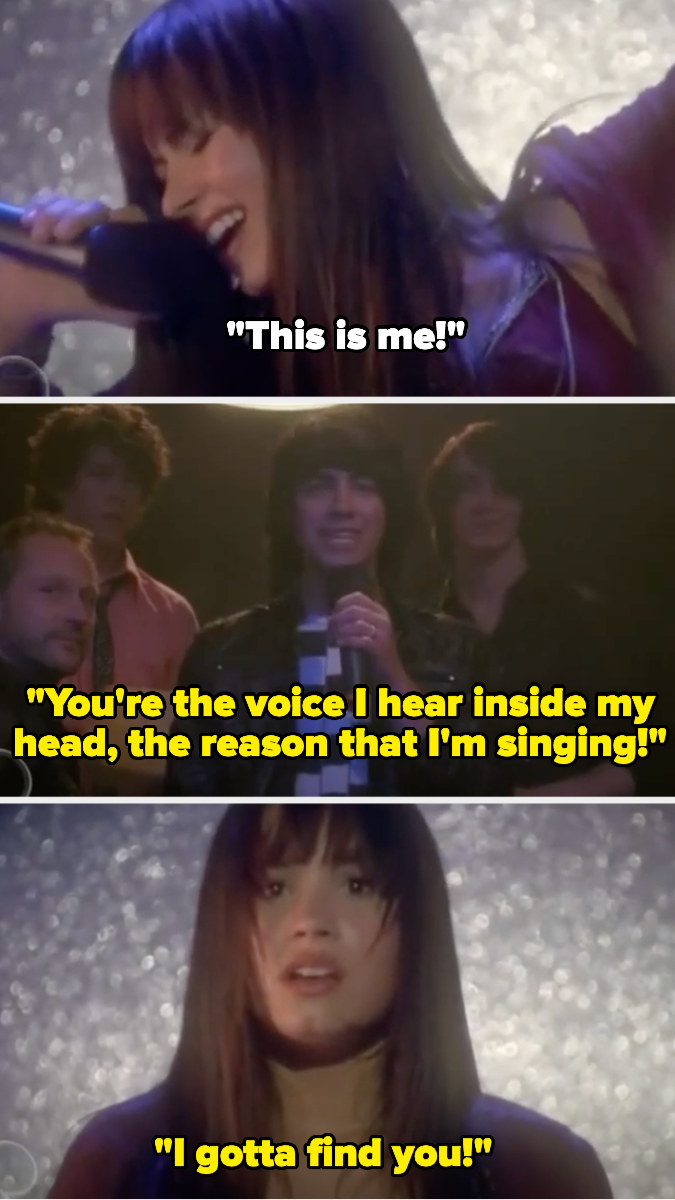 """Demi sings """"this is me!"""" then looks shocked as Joe begins singing """"you're the voice I hear inside my head, the reason that I'm singing, I gotta find you"""""""