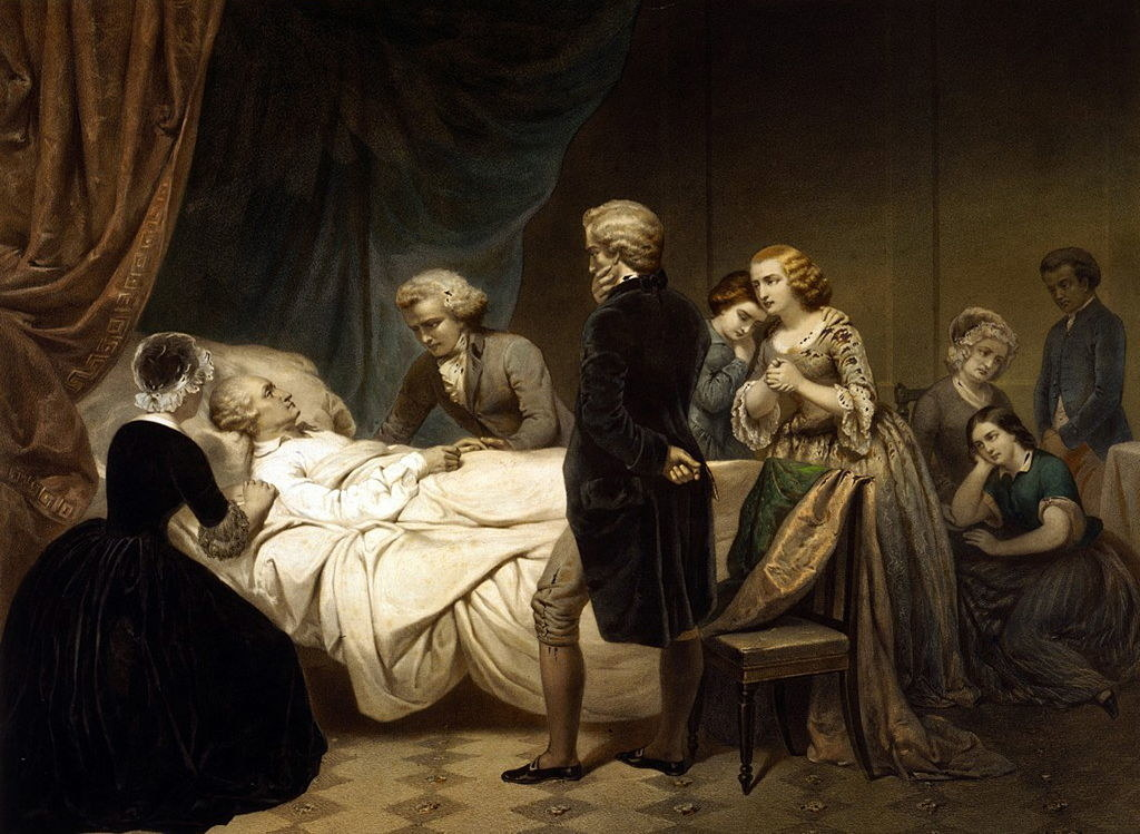 A painting of George Washington on his deathbed