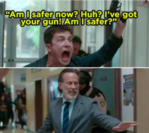 """Clay takes police officer's gun and waves it around at school yelling, """"Am I safer now?"""""""