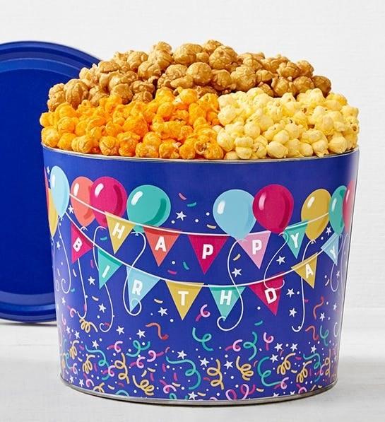 birthday balloon tin of assorted popcorn
