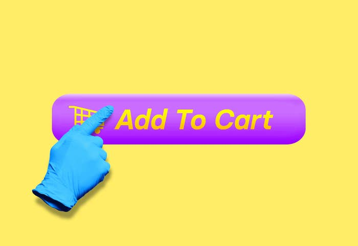 """An illustration of a hand with a latex glove taps a button that says """"Add To Cart"""""""