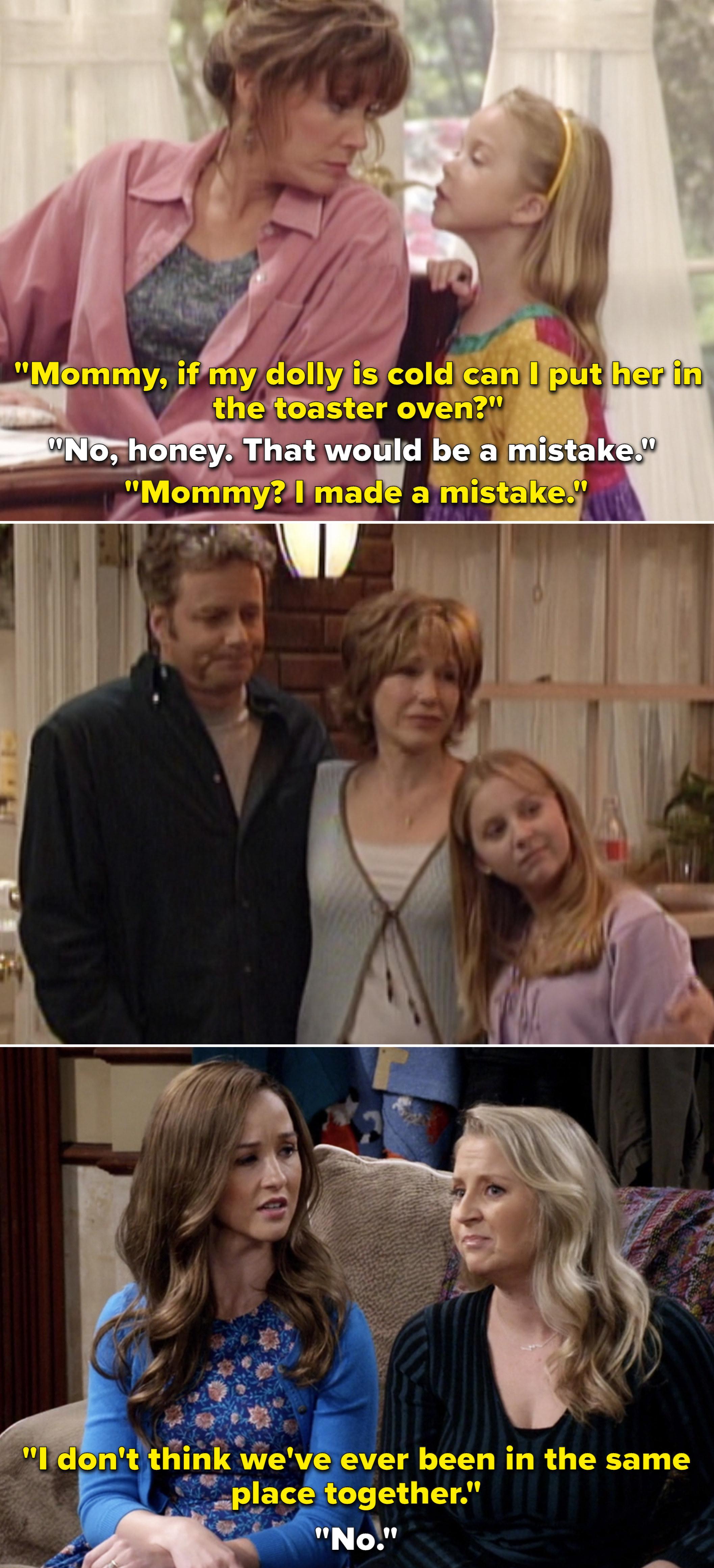 """摩根告诉她妈妈她把洋娃娃放进了烤箱,然后一个年长的摩根对另一个摩根说;我不知道';别以为我们';""""我曾经一起在同一个地方"""";"""