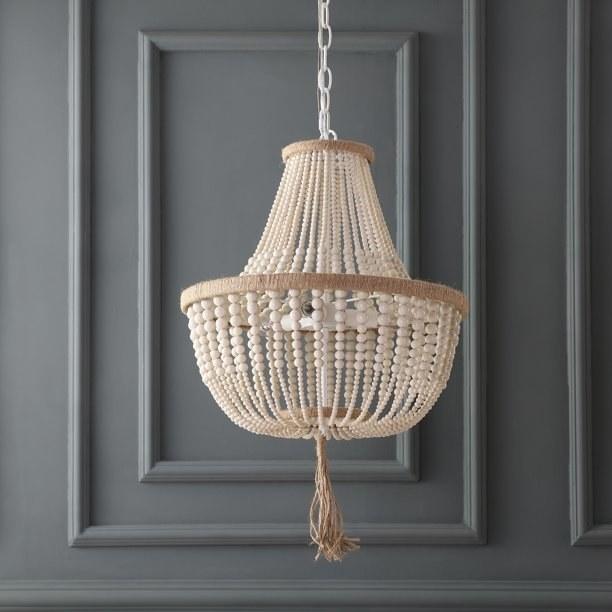 white beaded chandelier with tassel detail
