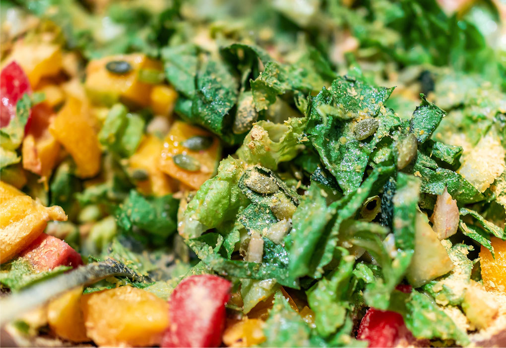 Nutritional yeast on a salad of vegetables