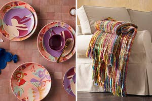 floral dishes and a colorful throw