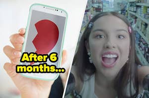 """A phone is on the left displaying a broken heart labeled """"After 6 months"""" with Olivia Rodrigo screaming on the right"""