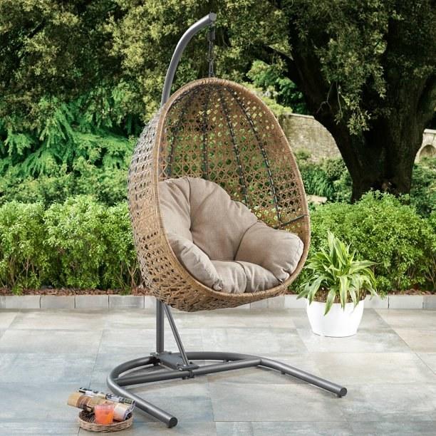 light brown egg basket chair