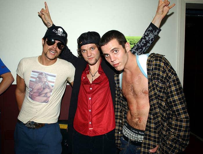Throwback photo of three cast members of Jackass