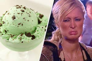 A scoop of mint chocolate chip ice cream sits in a bowl and Paris Hilton scrunches her face in pure disgust.