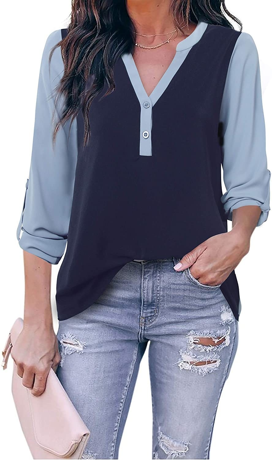 navy and light blue color blocked long sleeve henley tunic