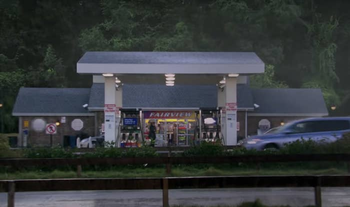 A screenshot of the gas station from across the highway