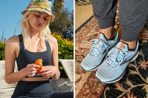 to the left: a model in a black sports bra, to the right: a reviewer in light blue sneakers