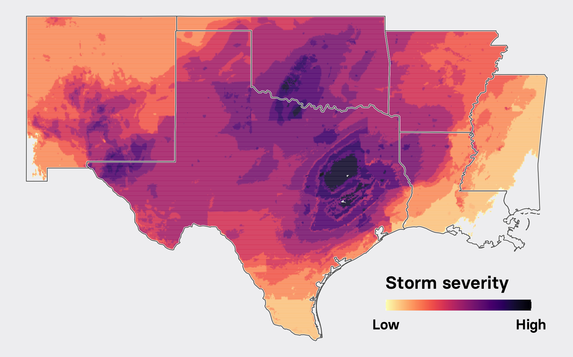 A meteorological forecast shows that a winter storm's severity affected eastern Texas and surrounding states