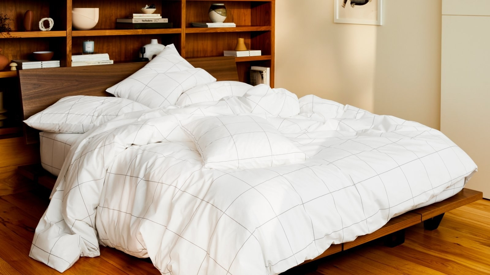 a set of white gridded sheets