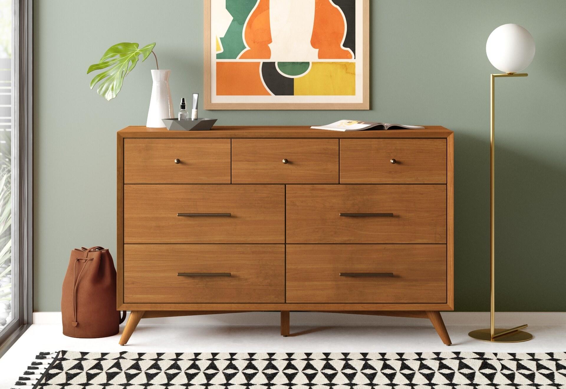 a seven-drawer mid-century modern dresser