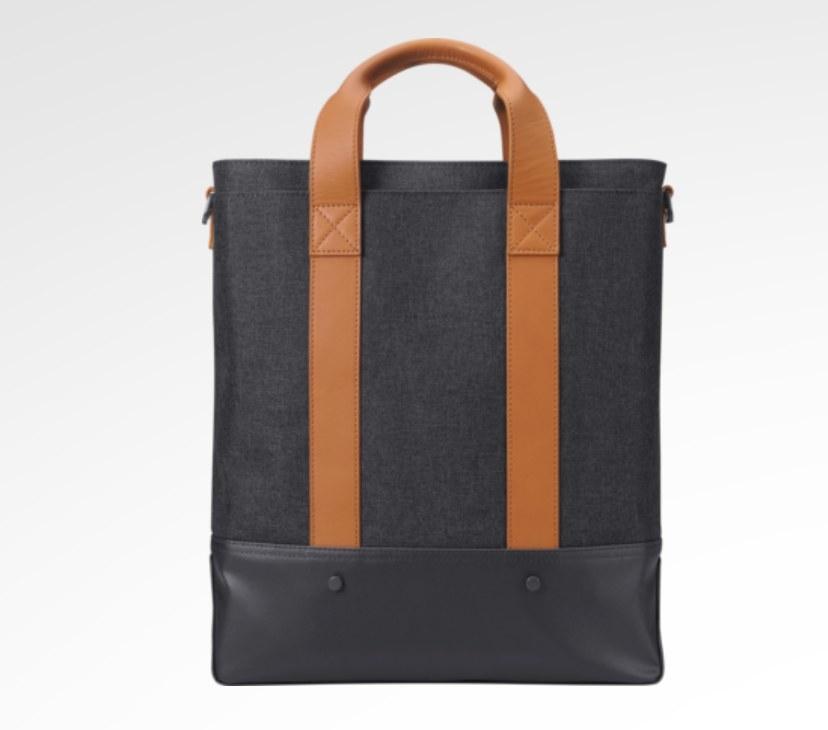 The urban tote bag with tan brown handles