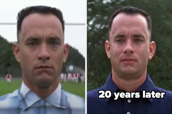 Forrest as a teenager, then 20 years later