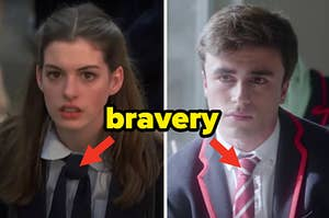 """Two teens are dressed in a school uniform with """"bravery"""" written and arrows pointing at their ties"""