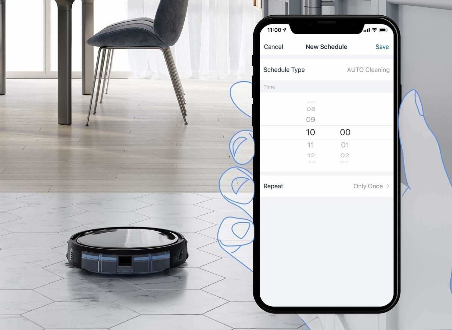 Vacuum cleaning robot can be scheduled through the mobile app.