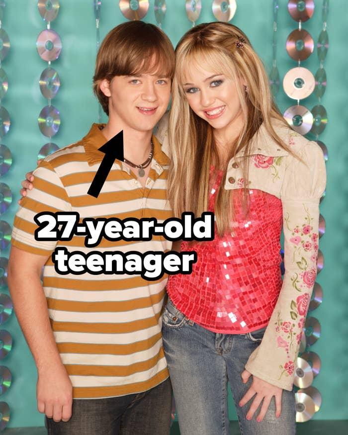 Jackson as a 27-year-old teenager on Hannah Montana