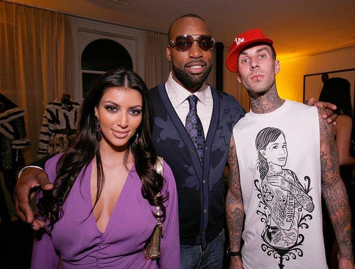 Kim Kardashian (from left), Baron Davis, and music recording artist Travis Barker attend the LA Stars kickoff event