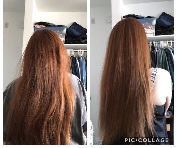 Reviewer's before and after of damaged hair and then sleeker hair